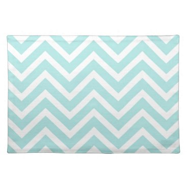 USA Themed Chevron  Green mint aqua white cool Placemat