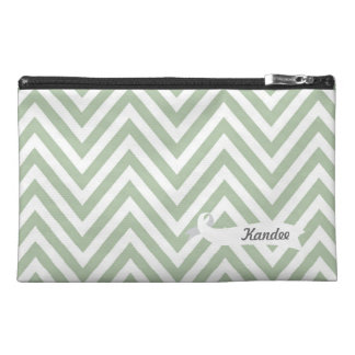 Chevron Green Pattern Designer Name Make Up Bag! Travel Accessory Bag