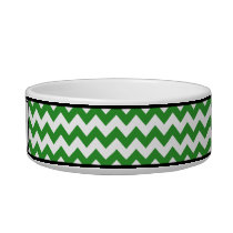 Chevron Green Personalized Cat Bowl