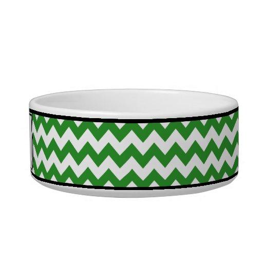 Chevron Green Personalized Cat Bowl