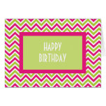 Chevron green & pink zigzag birthday card