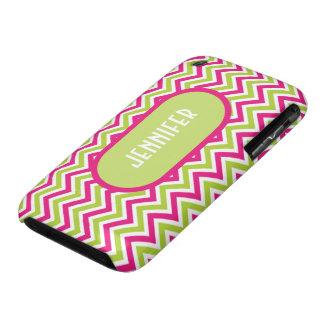 Chevron green pink zigzag funky custom girls name iPhone 3 cover