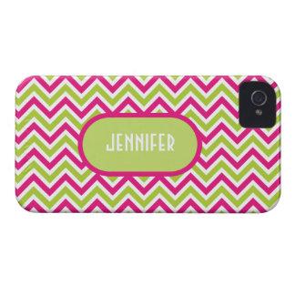 Chevron green pink zigzag funky custom girls name iPhone 4 Case-Mate case