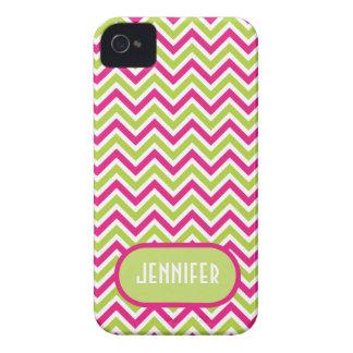 Chevron green pink zigzag funky custom girls name iPhone 4 cover