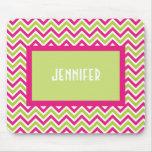 Chevron green pink zigzag funky custom girls  name mousepad