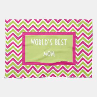 Chevron green pink zigzag funky worlds best mom kitchen towel