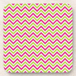 Chevron green & pink zigzag pattern colorful coaster