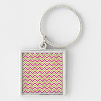 Chevron green & pink zigzag pattern colorful fun keychain