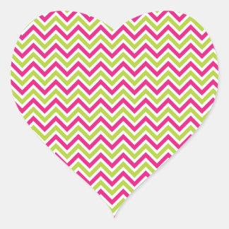 Chevron green & pink zigzag pattern colorful heart sticker