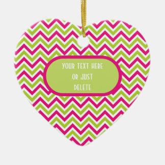 Chevron green & pink zigzag pattern custom fun christmas ornament