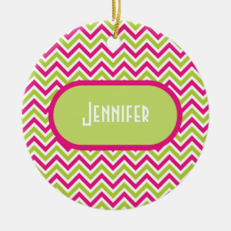 Chevron green pink zigzag pattern custom girl name ceramic ornament