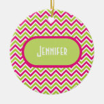 Chevron green pink zigzag pattern custom girl name Double-Sided ceramic round christmas ornament