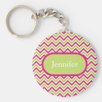 Chevron green & pink zigzag pattern custom name key chains