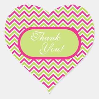 Chevron green & pink zigzag pattern thank you heart sticker