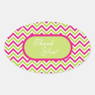 Chevron green & pink zigzag pattern thank you oval sticker