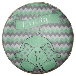 Chevron Green Striped Cute Cartoon Elephant Chocolate Dipped Oreo