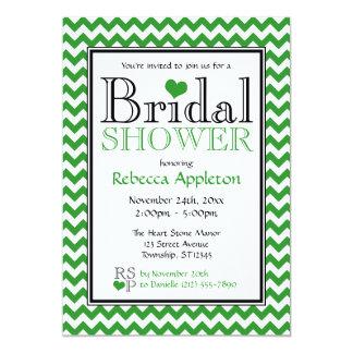 Chevron Green & White Bridal Shower Invitation