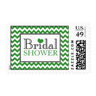 Chevron Green & White Bridal Shower Postage Stamps