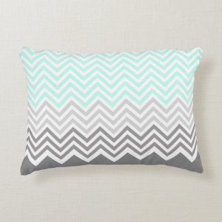 chevron grey teal accent pillow