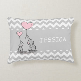 Chevron Grey White PINK Girl Elephant Heart Accent Pillow