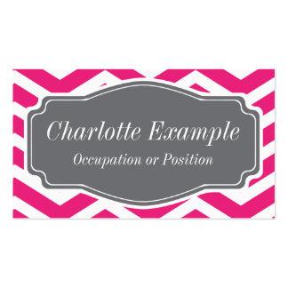 Chevron gris blanco rosado personal plantilla de tarjeta de negocio