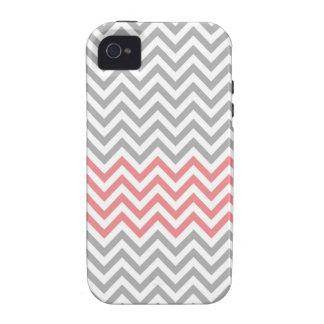 Chevron gris, blanco y coralino iPhone 4 funda