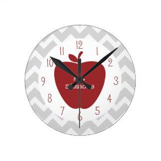 Chevron gris y profesor rojo de Apple Reloj Redondo Mediano