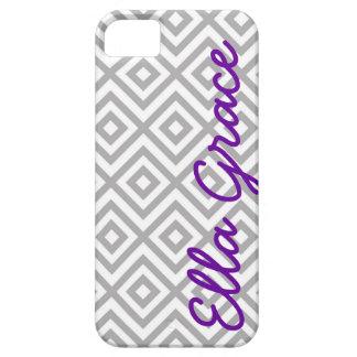 Chevron gris y púrpura del monograma con su nombre iPhone 5 carcasa
