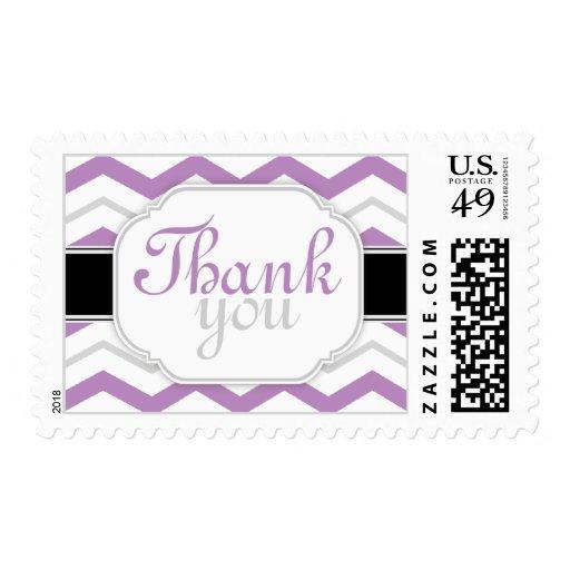Chevron gris y púrpura le agradece los sellos