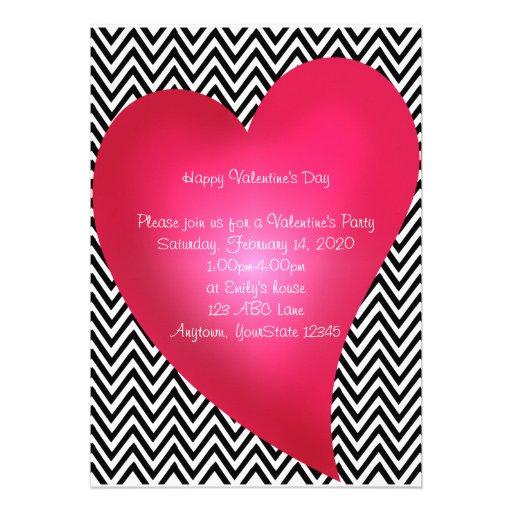 Chevron Heart Valentine's Day Party Invitation