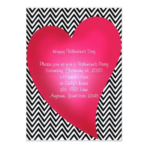 """Chevron Heart Valentine's Day Party Invitation 5"""" X 7"""" Invitation Card"""