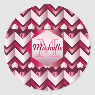 Chevron Hearts Metallic Ruby Red Pink Tourmaline Classic Round Sticker