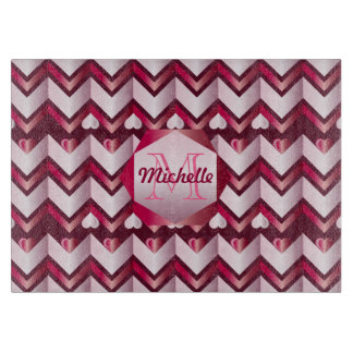 Chevron Hearts Metallic Ruby Red Pink Tourmaline Cutting Board