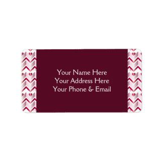 Chevron Hearts Metallic Ruby Red Pink Tourmaline Label