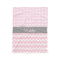 Chevron Hearts Pattern Pink Gray | Monogram Fleece Blanket