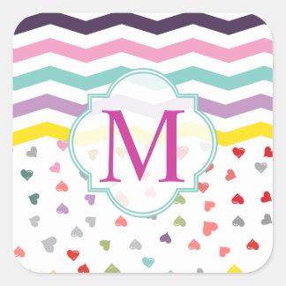 Chevron Hearts Square Sticker