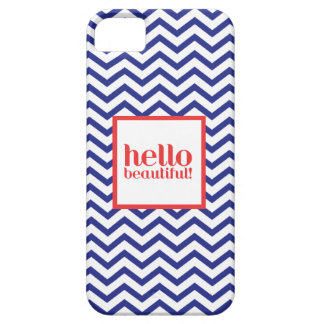 """Chevron """"Hello Beautiful"""" in Navy & Red iPhone 5 Cases"""
