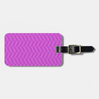 Chevron herring bone print purple luggage tag