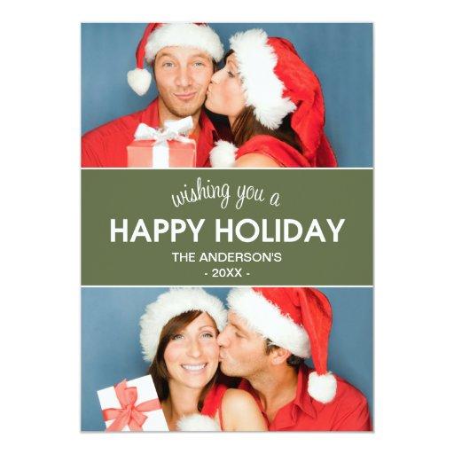 """CHEVRON HOLIDAY   HOLIDAY PHOTO CARD 5"""" X 7"""" INVITATION CARD"""