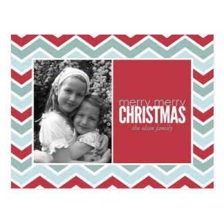 Chevron Holiday Photo Greeting Postcard