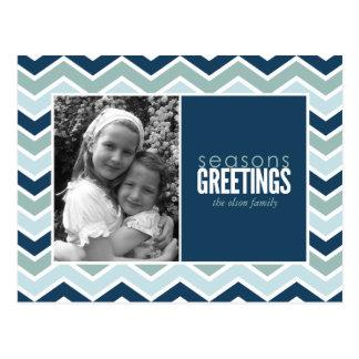 Chevron Holiday Photo Greeting Post Card