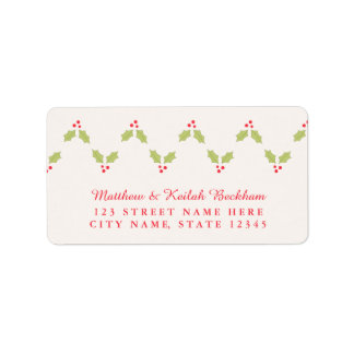 Chevron Holly Berries Holiday Address Labels