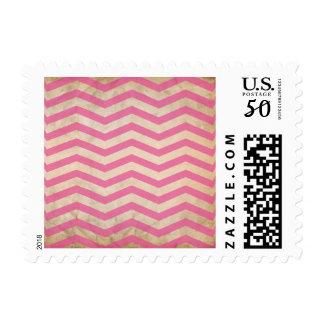 Chevron Hot Pink Circus Grunge Texture Postage