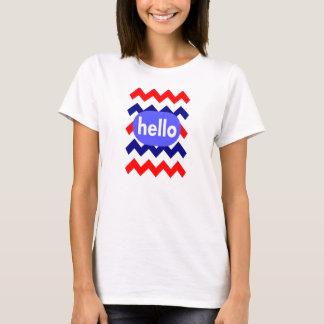 chevron image red white blue hello on t-shirt