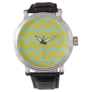 Chevron in on-trend (2015) chartreuse/aqua watch