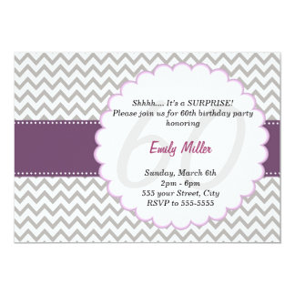 Chevron Invitation Adult Birthday Party Purple