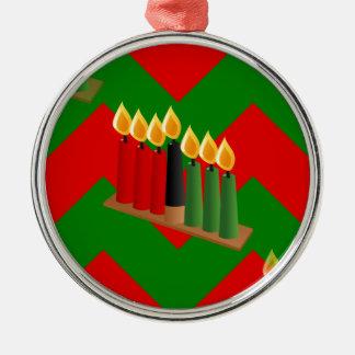 chevron kwanzaa metal ornament