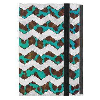 Chevron Leopard Brown and Teal Print iPad Mini Case