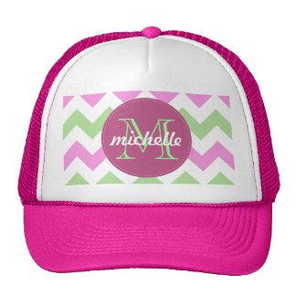 Chevron Light Pink Green Monogram Circle Stitches Trucker Hat