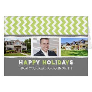 Chevron Lime Realtor Happy Holidays Photo Card